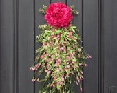 Spring Wreath Summer Wreath Teardrop Vertical Door Swag Decor-Pink Hydragea-Pink Artificial Florals