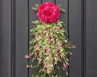 Spring Wreath Summer Wreath Teardrop Vertical Door Swag Decor-Pink Hydragea-Pink Artificial Florals