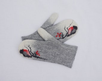 Felted Mittens Merino wool White Light Gray