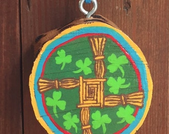 Irish Ornament, St. Brigid's Cross, Handpainted Wooden Ornament, Christian
