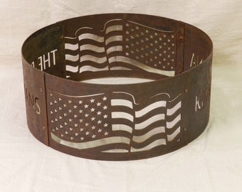 Fire Ring - Fire pit - Personalized - Portable - American Flag Design