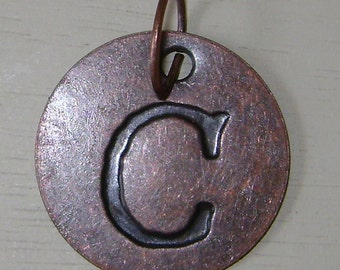 """Copper Initial """"C"""" Coin Charm"""