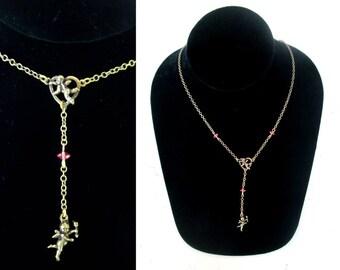 Cupid Angel Pink Crystal Chain Necklace Top Shelf Brand Antique Look Vintage Cherub