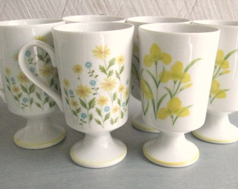 Floral Pedestal Coffee Tea Mugs Vintage 1970s Flower Power Kitchen Set of 6