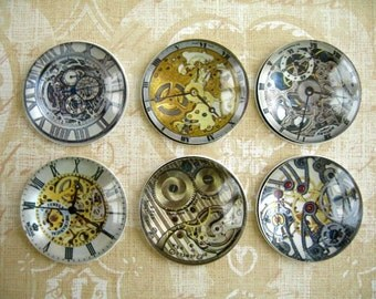 Watches Style Glass Magnets, Steam Punk Watches Magnets, Watch Clock Party Decoration
