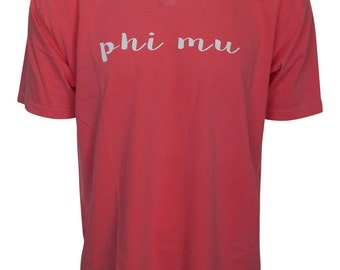 Phi Mu - V-Neck T-shirt with script lettering NEW
