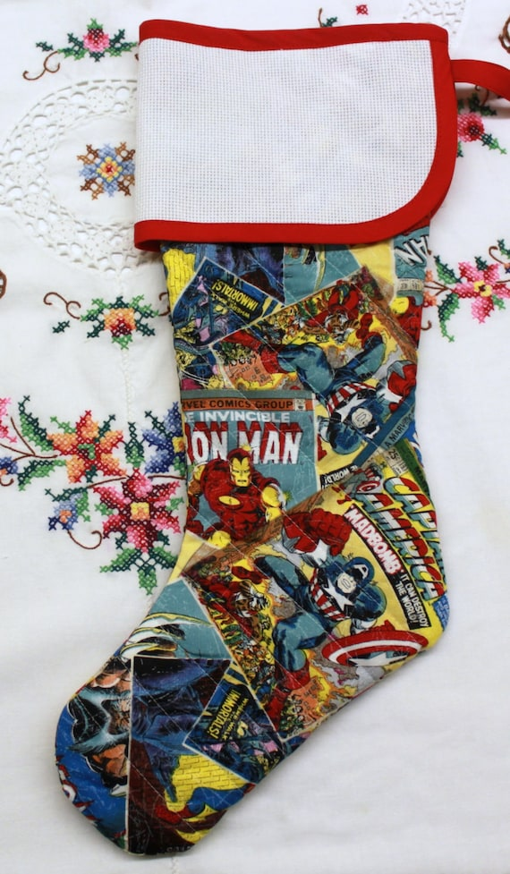 Marvel Super Hero Stitchable Quilted Cross stitch Christmas Stocking