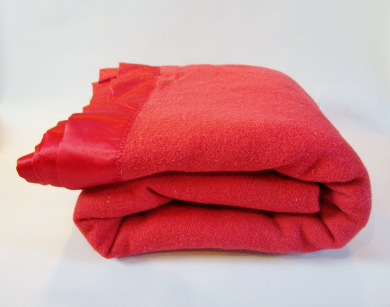 Vintage Wool Blanket Pure Wool Rich Red With Satin Trim By