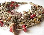 Amber & Coral  net - linen necklace