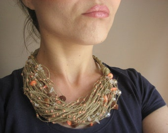 Amber & Salmon Coral  net - linen necklace