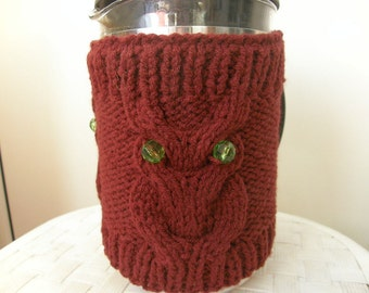 Owl  French Press Cozy, Coffee , Tea Cozy wine red Color Ready to Ship