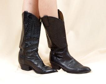 Mens Dan Post Cowboy Boots * Black Cowboy Boots * Country Western Boots * Black Boots *Black Leather Boots * Leather Cowboy Boots