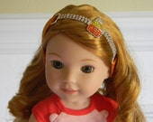 """Wellie Wisher Halloween Headband Candy Corn w/ Rhinestones on Orange Band 14"""" Doll Hair Accessory also Fits Hearts for Hearts Holiday Fall"""