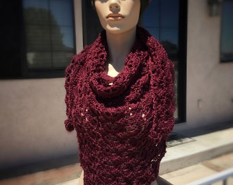 Hand - Crocheted South Bay Shawlette in Burgundy