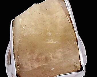 Libyan Meteorite Desert Glass Specimen Ring. Size 8. Solid Sterling Silver.