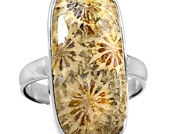 Fossilized Coral Sterling Silver Ring. 9