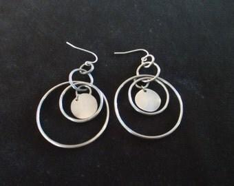 Metal Hoop Pierced Earrings Hoops and Discs Costume Jewelry Gun Metal Gray Vintage Multi Hoop Dangles  NOS YourFineHouse SHIPSWORLDWIDE