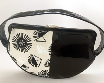 Modern 1960's Handbag - Black and White - Patent Leather
