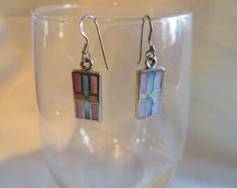 Rectangular Dangle Earrings on Silver Ear Wires, Dangle, Earrings, Rectangle