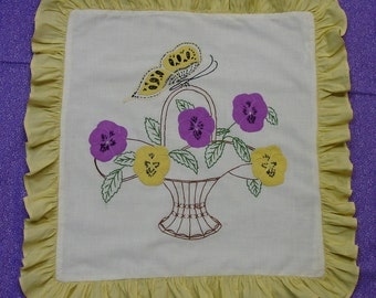 Most Charming Vintage 1930's Pillow Top Appliqued Pansies,Butterfly,Basket,2 Available