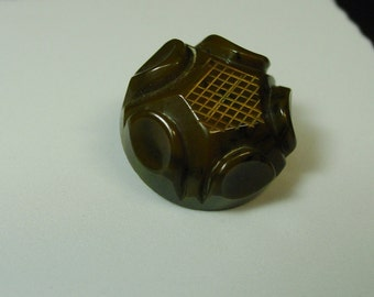 """Neat Vintage Bakelite Button, Carved,Chunky,Etched, 1 1/16"""""""