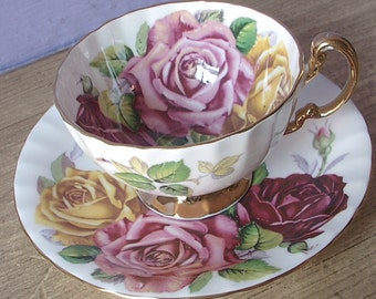 Antique Aynsley Large Roses tea cup and saucer, Pink roses tea cup, Yellow roses teacup, English tea cup set, bone china tea cup,