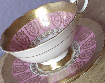 Vintage English tea cup and saucer, Royal Stafford pink teacup, bone china teacup, pink and gold tea cup set, 20th Anniversary gift