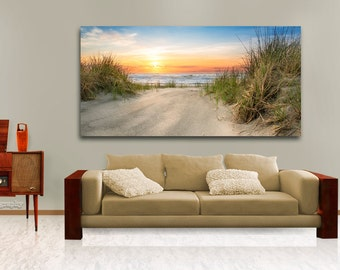 Large Ocean Beach Wall Decor, Above the Couch Hanging Art, Metal Print, Perfect for Home, Ocean Blues, Comes Ready to Hang