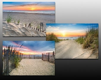 Special Offer 30% Off, Beach Sunrise Collection, Set of Three Prints, beach themed wall decor, Buy as a set and save, blue and orange colors