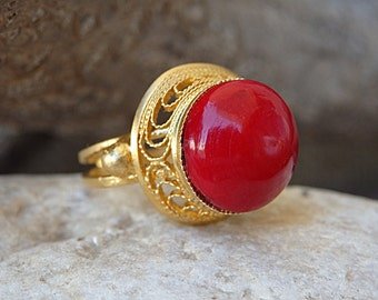 Red Stone Ring, Red Coral Ring, Gold Red Gemstone Ring, Genuine Coral Gold Ring, Gold Filigree Ring, Statement Ring, Gold Adjustable Ring