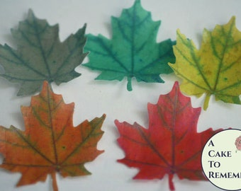 12 Wafer paper maple leaves, edible leaves for autumn baking, cookie decorating, and cupcake baking. Fall wedding cake topper. Vegan leaves