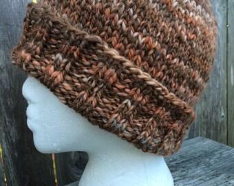 Mens Knit hat, Knit Beanie, Winter hat, Wool Hat, Handspun Wool Hat