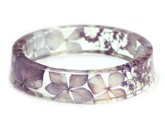 Pale Purple Flower Jewelry- Real Flower Jewelry- Purple Bracelet- Purple Flower Jewelry- Resin Jewelry- Flower Bangle- Flower Resin Bracelet