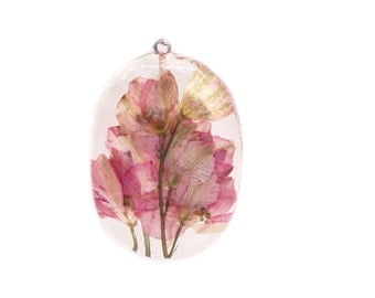 Pink Flower Jewelry - Real Flower Jewelry - Necklace Charm - Resin Pendant - Flower Jewelry - Handmade Jewelry - Real Flower Jewelry -