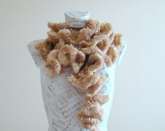 faux fur scarf knit ruffle scarf crochet ruffle scarf fun fur woman scarf fur neck scarf knitting ruffle scarf ruffle scarf brown scarf