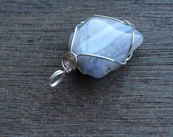 Blue Lace Agate Sterling Silver Pendant #6134