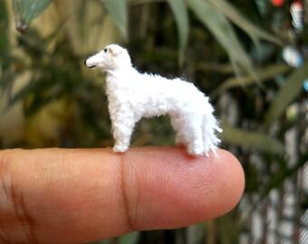 Mini White Borzoi - Micro Crochet Miniature Dog Stuffed Animals - Made To Order