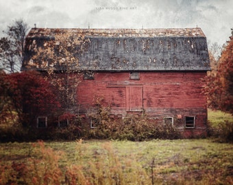 Farmhouse Decor, Barn Print or Canvas Wrap, Vintage Barn, Red Barn, Red Wall Art, Country Rustic Home Decor, Barn Landscape, Autumn Barn.