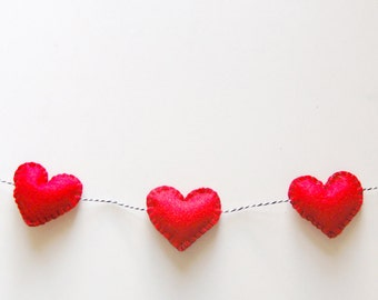 4' Felt Heart Garland, Valentine's Decor