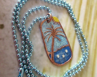 Palm Tree Copper Etched Pendant Necklace, Copper Etched Palm Tree and Beach Pendant, Original Design Pendant, FREE US SHIPPING