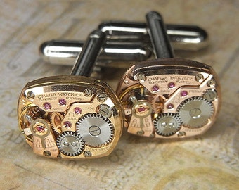 Steampunk Cufflinks Cuff Links - Torch SOLDERED - Antique ROSE Gold OMEGA Watch Movements - Birthday Wedding Anniversary Gift - Cool Colors
