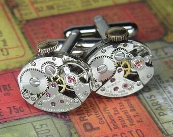 Steampunk Cufflinks Cuff Links - Torch SOLDERED - Vintage Silver Oval Watch Movements w Original Crowns - Birthday Anniversary Gift