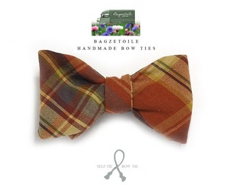 Bow Tie, plaid, freestyle, mens bowtie / self tie / ships worldwide / just bowties for men by Bagzetoile