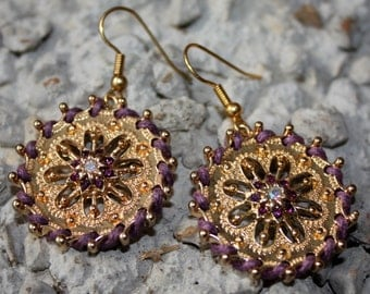 Purple and Gold Earrings - Flower Design Earrings - Purple Crystal Earrings - Purple Cord Wrapped Earrings - Fashion Jewelry - Two Feathers