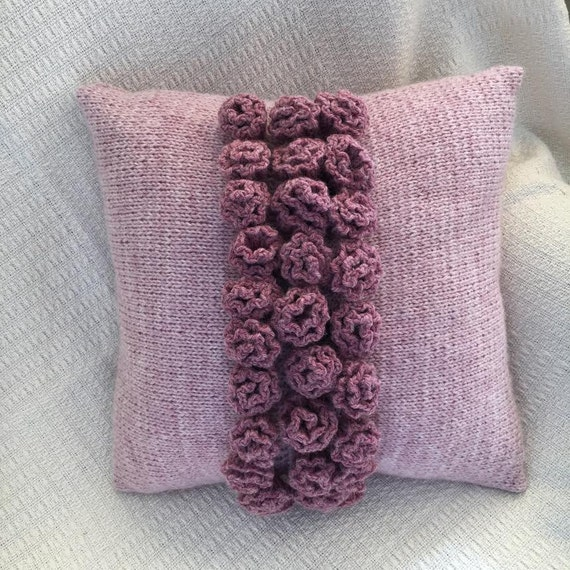 PDF KNITTING PATTERN knit pillow cover pattern rose knitting