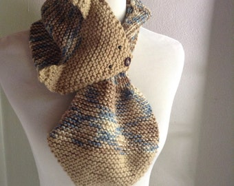 Fox Child Scarf, Knit Child Scarf, Knit Fox, Brown Knit Scarf, Brown Child Scarf, Keyhole Scarf, Fox Keyhole Scarf, Child Scarf