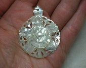 Rose Pendant, Mother of Pearl Hand-Carved. Jerusalem Souvenir? Gorgeous
