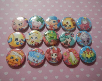 15 Shoppies Girls ShopKins Inspired Character Pinback Button Shower Goody Gift Treat  Party Favors Brooches