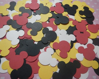 250 Mickey Mouse Inspired Colors Hand Punched 1 inch Paper  Punches Embellishment