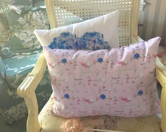 Rectangular Throw Pillow,  Happiness is a bouquet of Shabby Chic